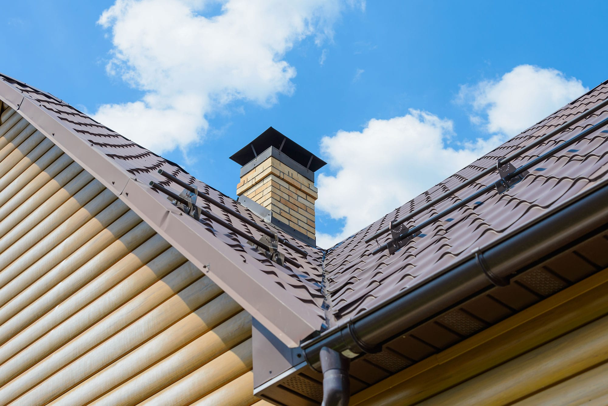 Perspective of roof and gutters